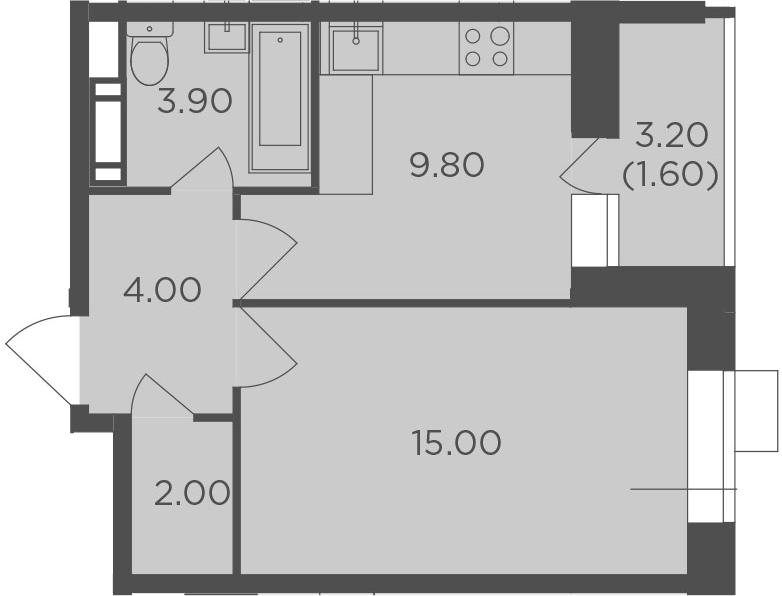 1-к.кв, 36.3 м², 4 этаж