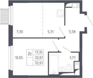 2Е-к.кв, 32.01 м², 13 этаж
