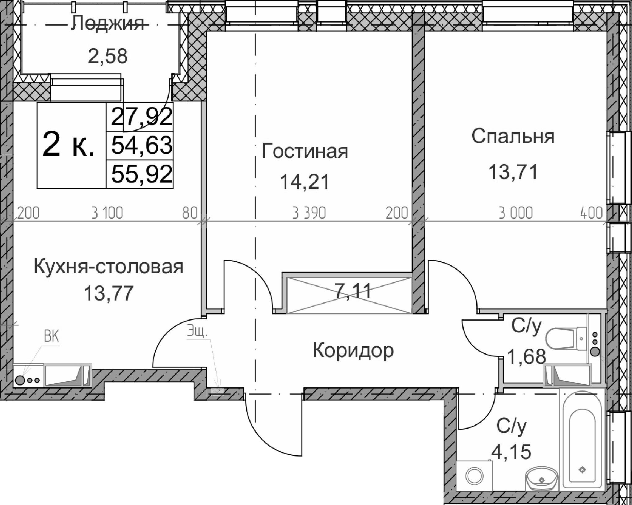 2-к.кв, 57.21 м²