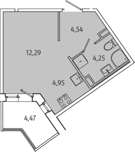 Студия, 28.27 м², 1 этаж