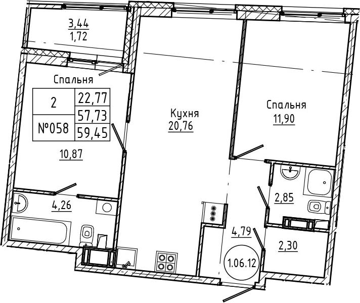 3Е-комнатная, 59.45 м²– 2