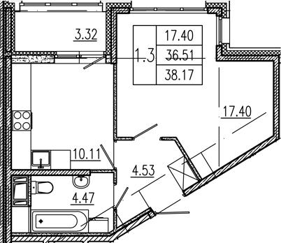 1-к.кв, 36.51 м²