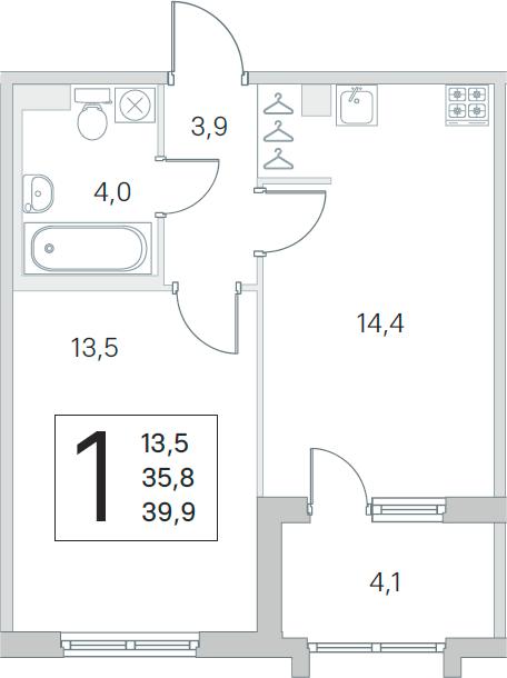1-комнатная, 35.8 м²– 2