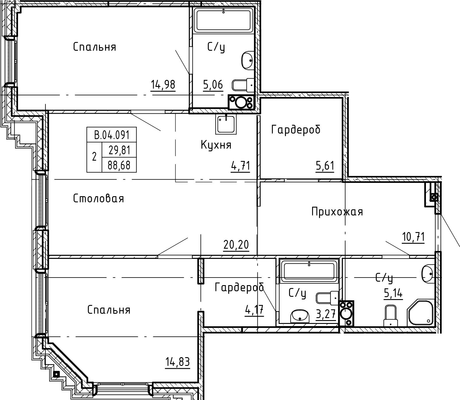 3Е-комнатная, 88.68 м²– 2