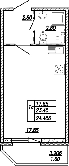 Студия, 24.45 м²