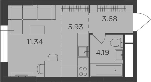 Студия, 25.14 м²