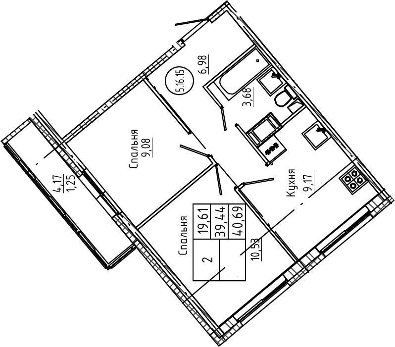 2-к.кв, 40.69 м²