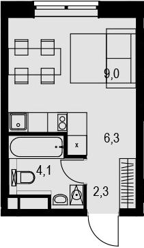 Студия, 21.7 м²– 2