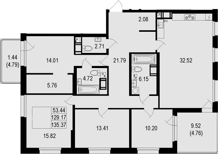 5Е-комнатная, 135.37 м²– 2
