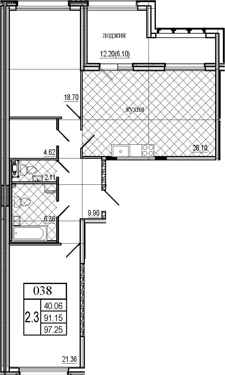 3Е-комнатная, 97.25 м²– 2