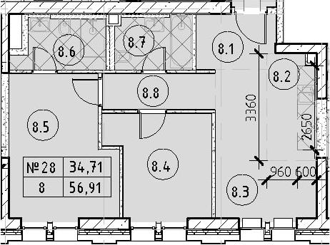 3Е-к.кв, 56.91 м²