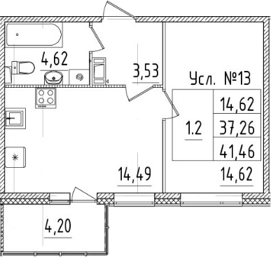 1-к.кв, 37.26 м²
