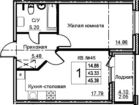 2-к.кв (евро), 47.43 м²