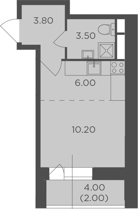 Студия, 25.5 м², 7 этаж