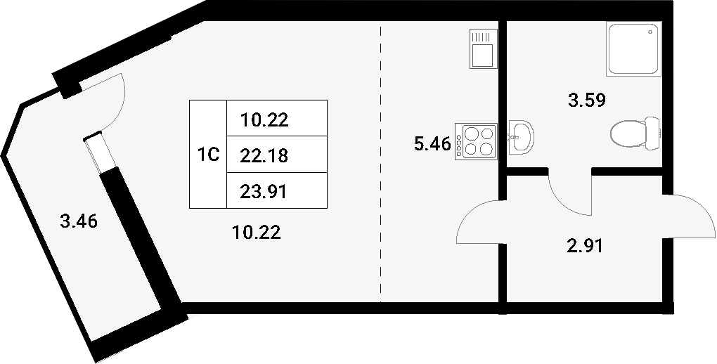 Студия, 25.64 м²