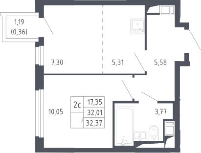 2Е-комнатная, 32.37 м²– 2