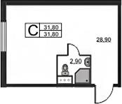Студия, 31.8 м²