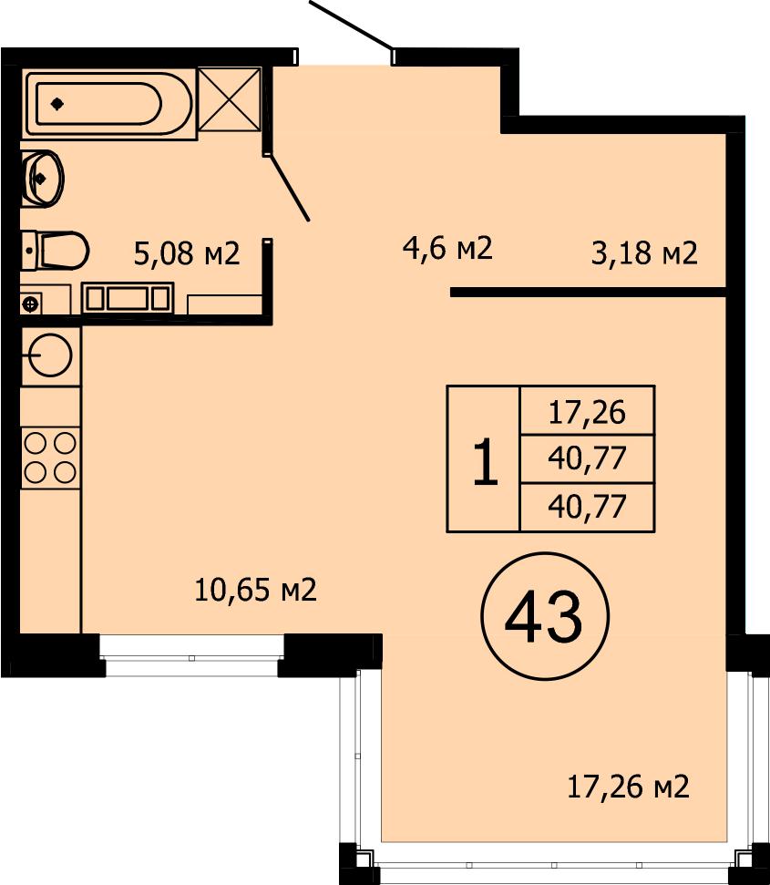 Студия, 41.21 м²