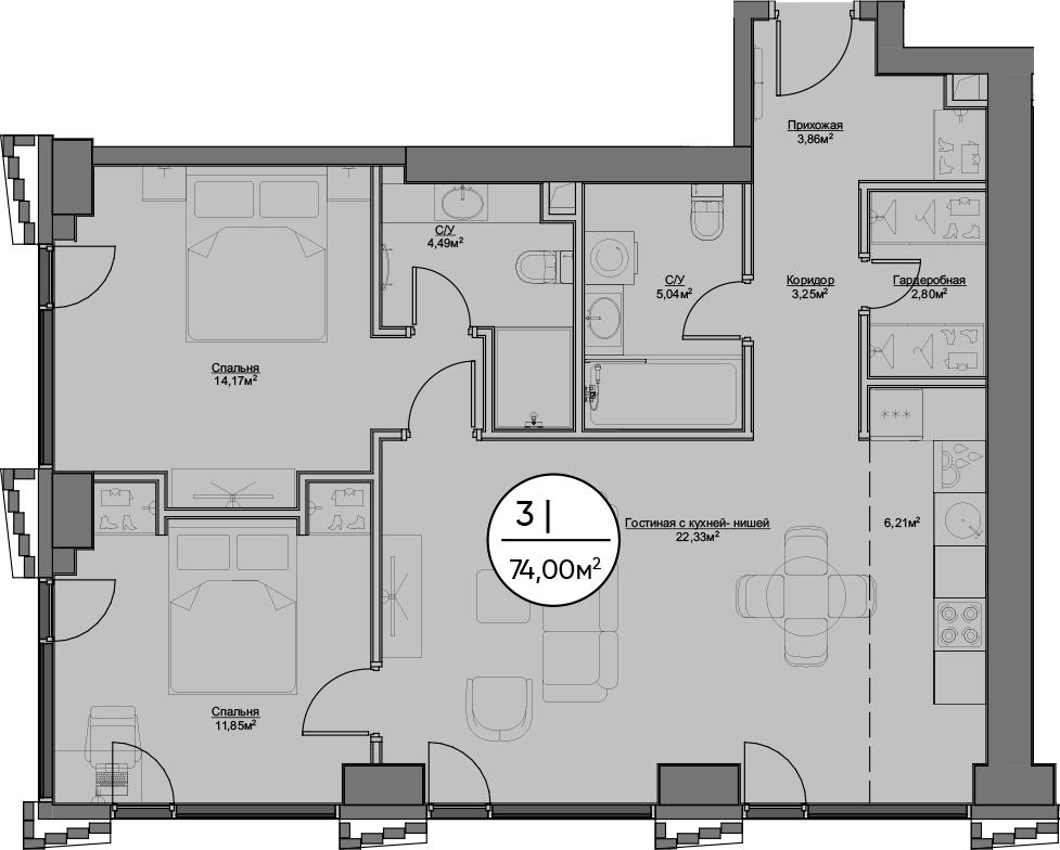 3Е-к.кв, 74 м²