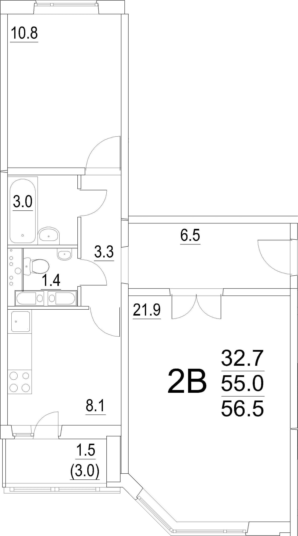 2-комнатная квартира, 56.5 м², 8 этаж – Планировка