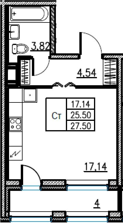 Студия, 27.5 м²– 2