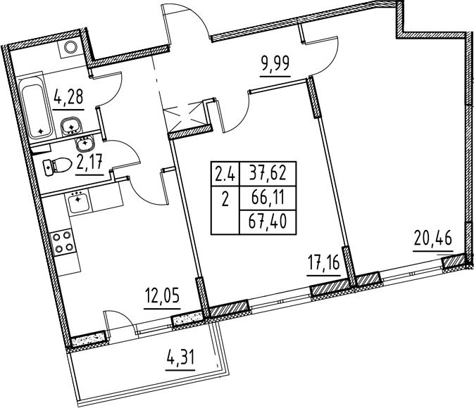 2-к.кв, 70.42 м²