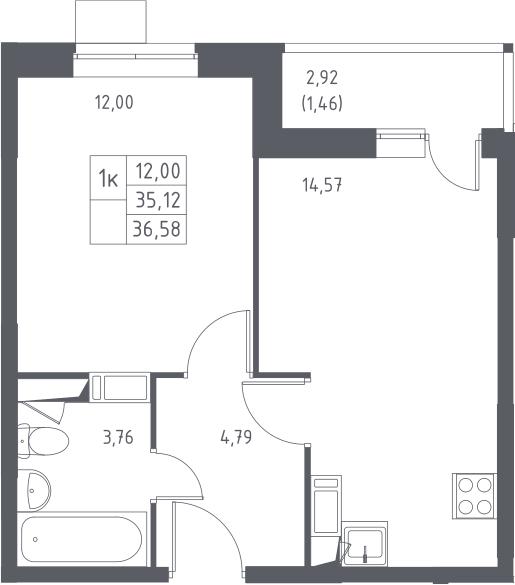 1-комнатная, 36.58 м²– 2