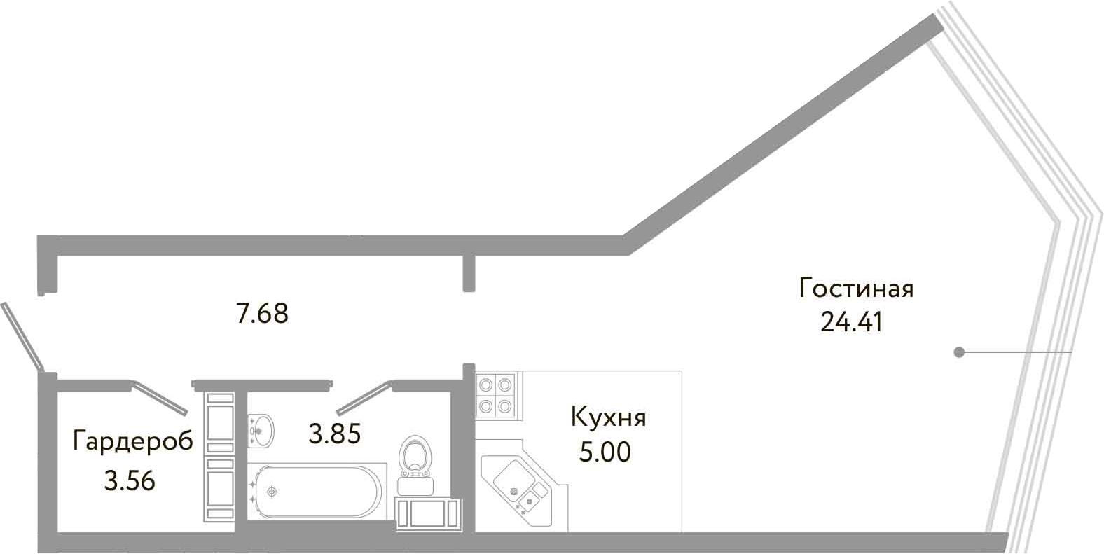 Студия, 44.5 м², 10 этаж