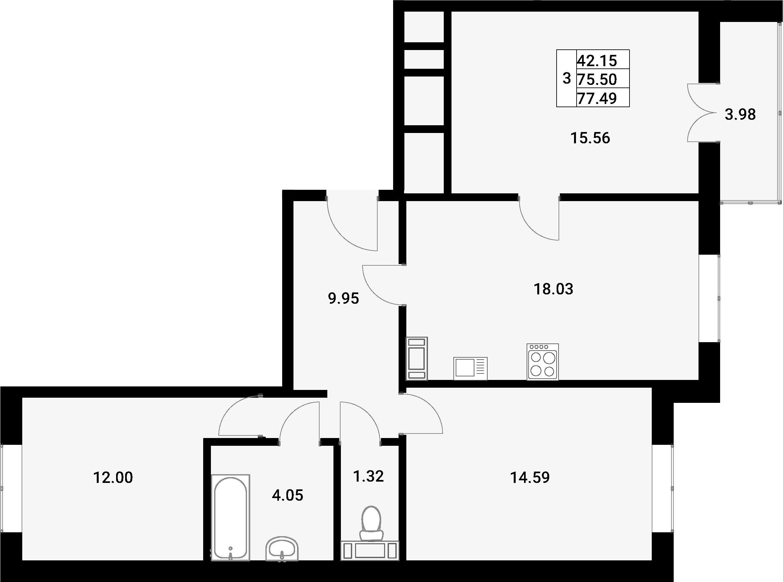 4Е-к.кв, 77.49 м²