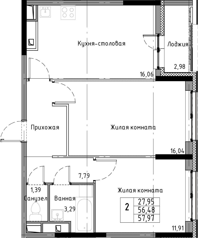 3-к.кв (евро), 59.46 м²