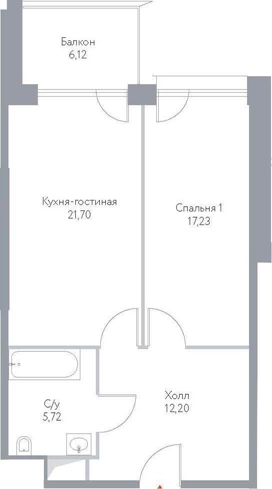 2Е-к.кв, 62.97 м², 11 этаж