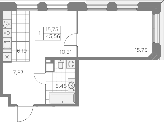 2Е-к.кв, 45.56 м², 7 этаж