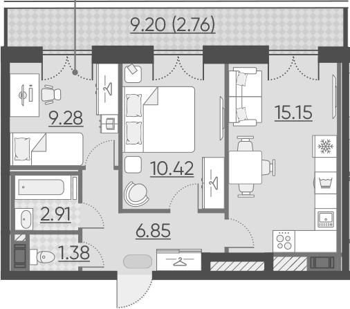 3-к.кв (евро), 55.19 м²