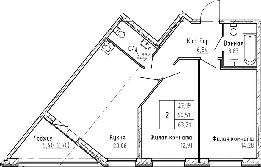 3Е-к.кв, 63.21 м², 2 этаж