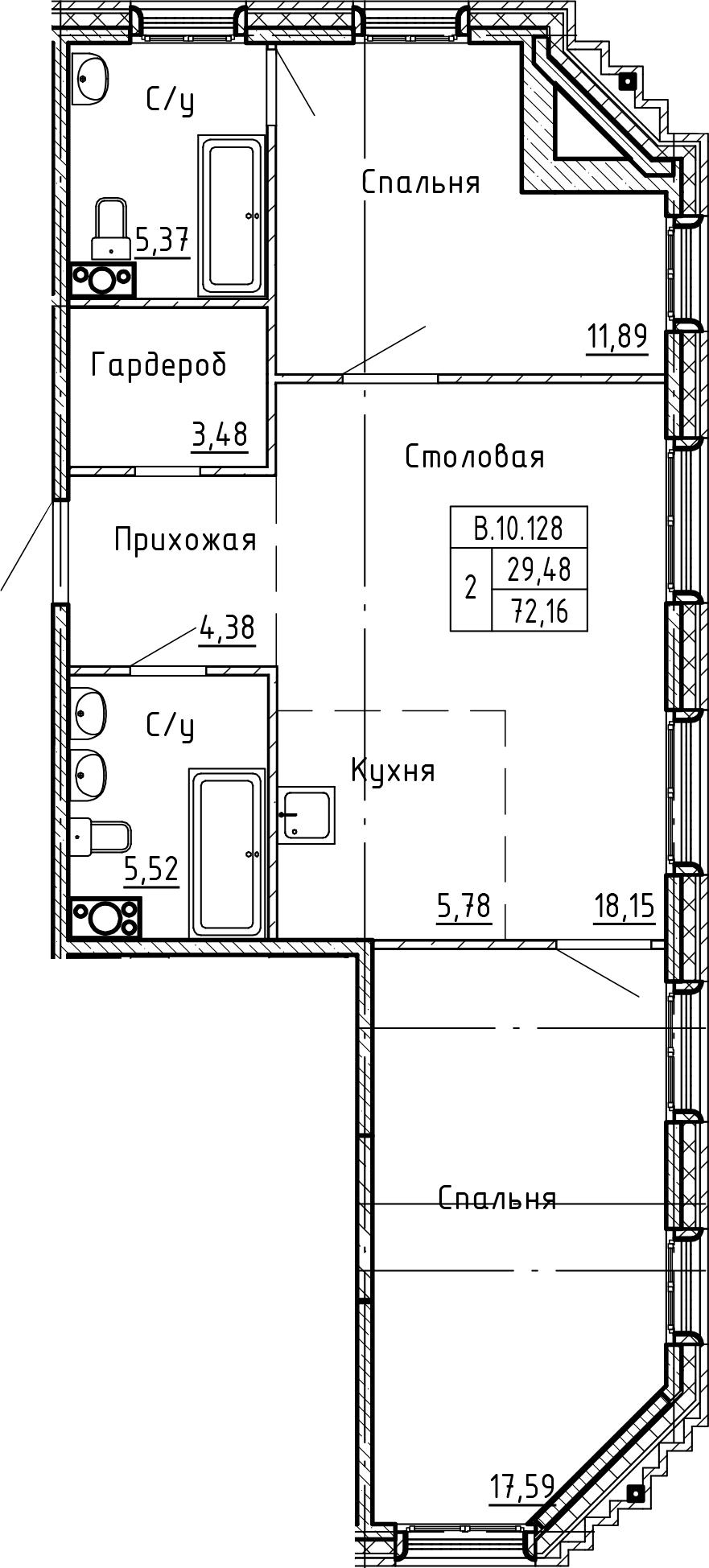 3Е-к.кв, 72.16 м²