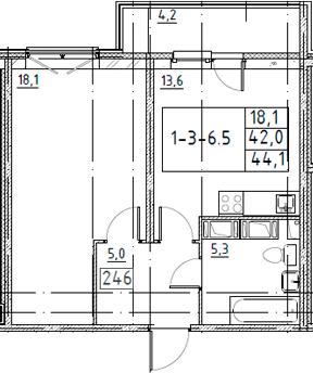 1-комнатная, 44.1 м²– 2