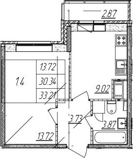 1-комнатная, 30.34 м²– 2