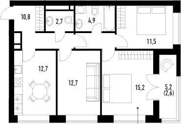 3-к.кв, 73.1 м², от 5 этажа