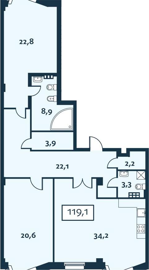 3Е-комнатная, 119.05 м²– 2