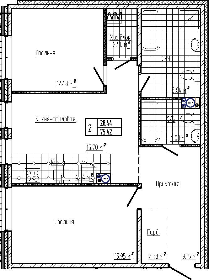 3Е-к.кв, 75.42 м², 6 этаж