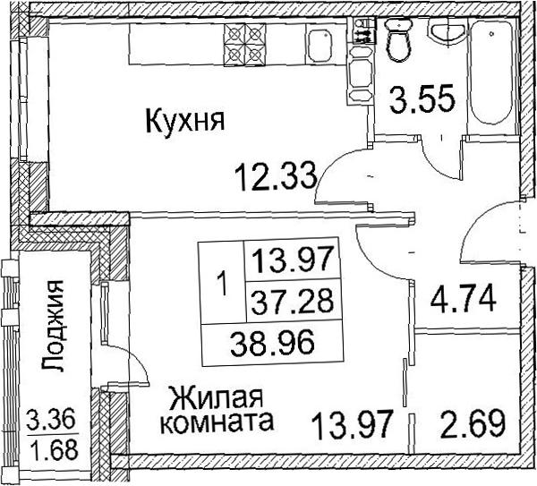 1-к.кв, 40.64 м²