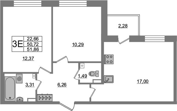 3-к.кв (евро), 53 м²