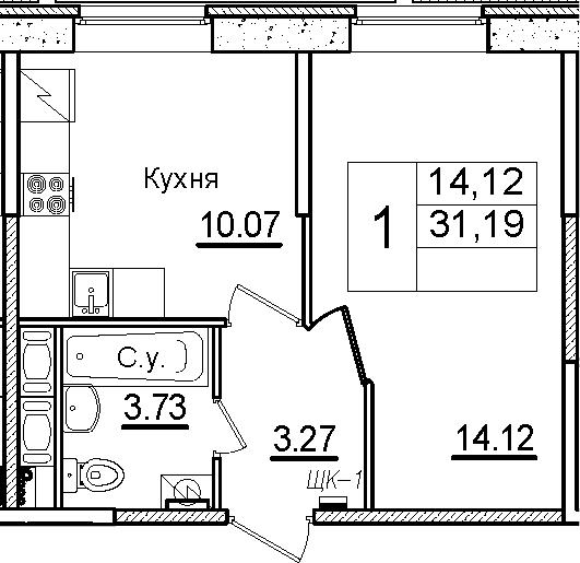 1-к.кв, 31.19 м², 1 этаж