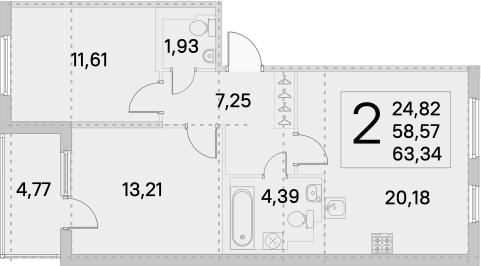 3Е-комнатная, 60.95 м²– 2