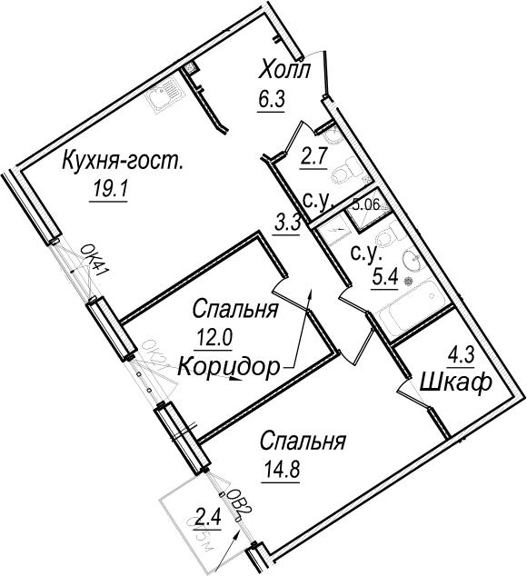 3Е-комнатная, 68.6 м²– 2