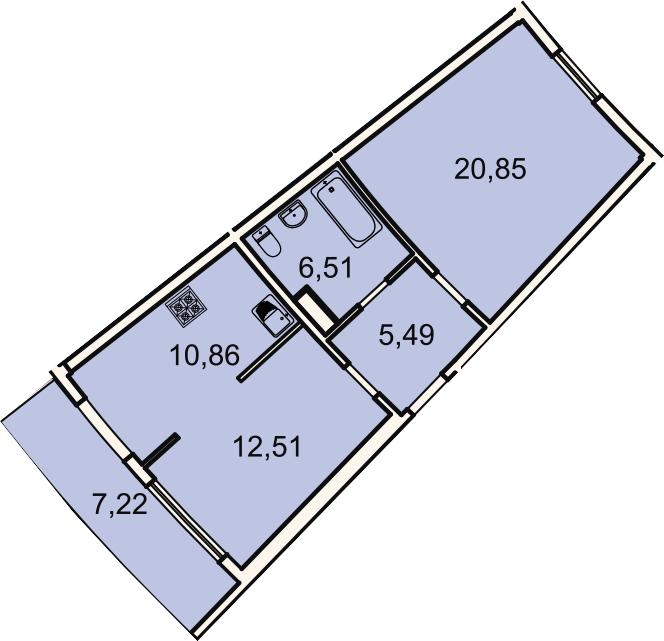 2-к.кв, 58.4 м², 2 этаж