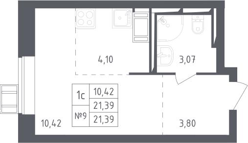 Студия, 21.39 м²– 2