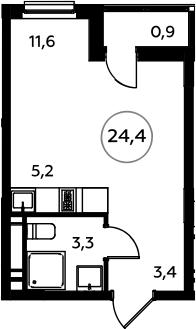 Студия, 24.4 м²– 2
