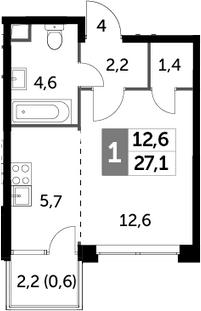 Студия, 27.1 м²