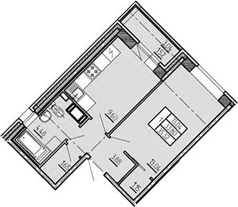 1-комнатная, 35.32 м²– 2